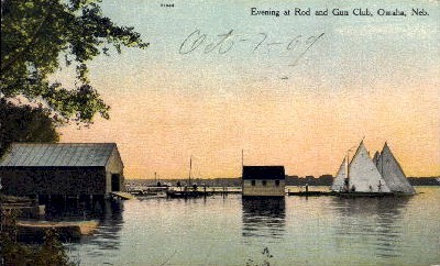 Evening at Rod and Gun Club - Omaha, Nebraska NE Postcard