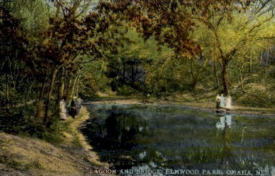 Lagoon and Bridge Elmwood Park - Omaha, Nebraska NE Postcard