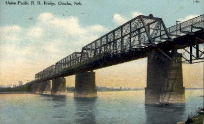 Union Pacific R.R. Bridge - Omaha, Nebraska NE Postcard