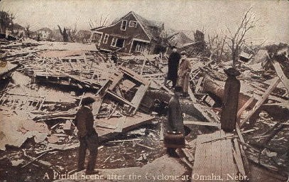 A Pitiful Scene After the Cyclone - Omaha, Nebraska NE Postcard