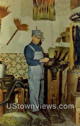 Broom Making, Pioneer Village - Minden, Nebraska NE Postcard