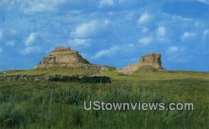 Jail & Courthouse Rocks - Bridgeport, Nebraska NE Postcard