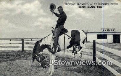 Bucking Broncho, Jerome's Tepee - Grand Island, Nebraska NE Postcard