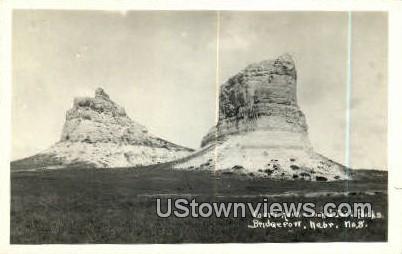 Real Photo Court House & Jail Rocks - Bridgeport, Nebraska NE Postcard