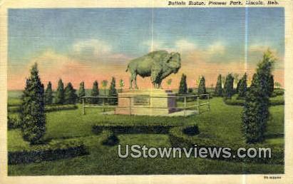 Buffalo Statue, Pioneer Park - Lincoln, Nebraska NE Postcard