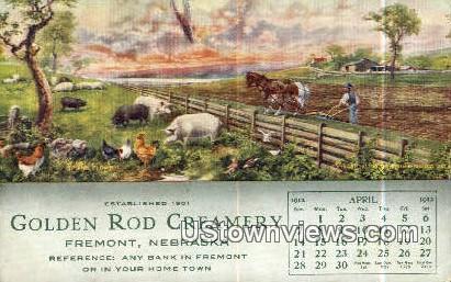 Golden Rod Creamery 1912 Calender - Fremont, Nebraska NE Postcard