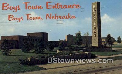 Boys Town Entrance - Nebraska NE Postcard