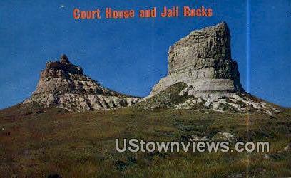 Court House & Jail Rocks - Bridgeport, Nebraska NE Postcard