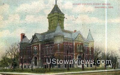 Admas County Court House - Hastings, Nebraska NE Postcard