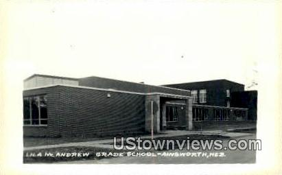 Real Photo - Lila McAndrew Grade School - Ainsworth, Nebraska NE Postcard