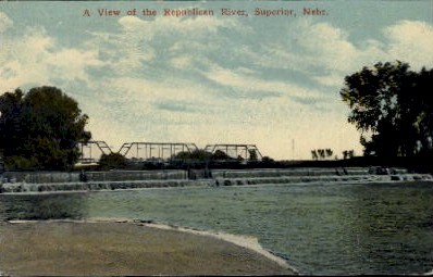 A View of the Republican River - Superior, Nebraska NE Postcard