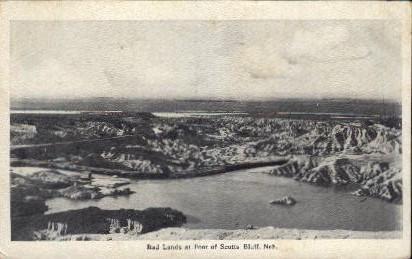 Bad Lands at Foot of Scotts Bluff - Scottsbluff, Nebraska NE Postcard
