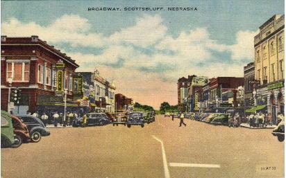 Broadway - Scottsbluff, Nebraska NE Postcard