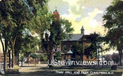 Town Hall & Park - Claremont, New Hampshire NH Postcard