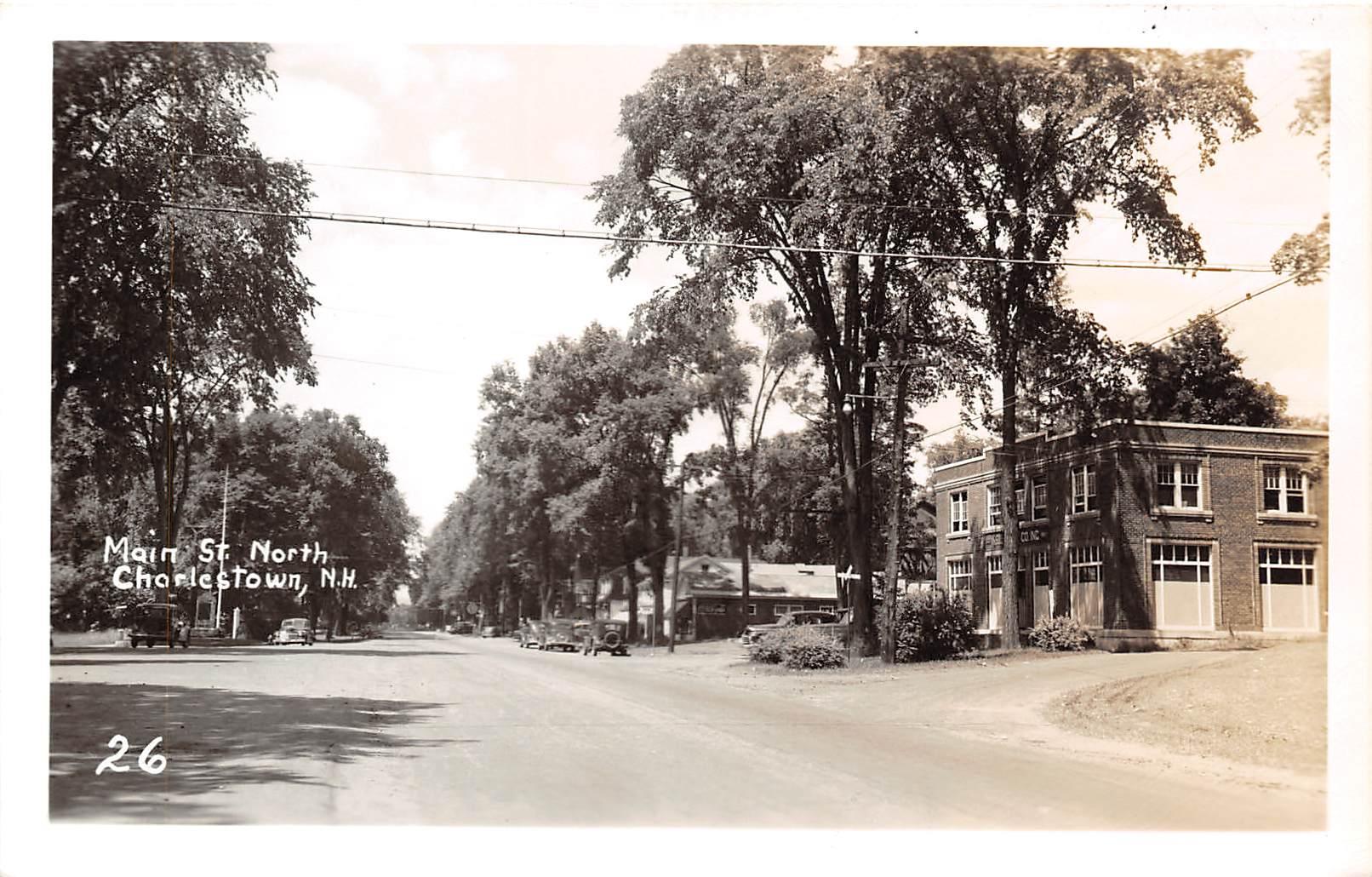 Main Street, Coke Sign - Charlestown, New Hampshire NH Postcard