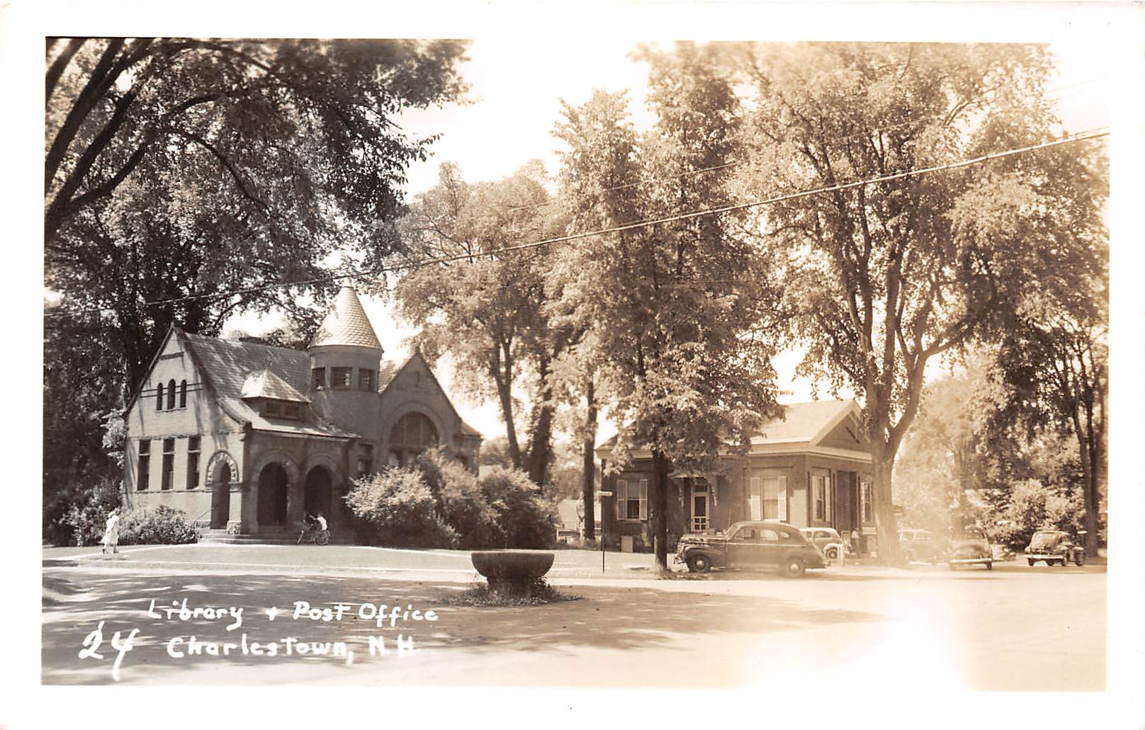 Library & Post Office - Charlestown, New Hampshire NH Postcard