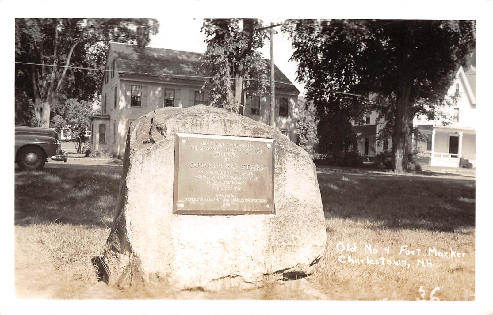 Old No 4 Fort Marker - Charlestown, New Hampshire NH Postcard