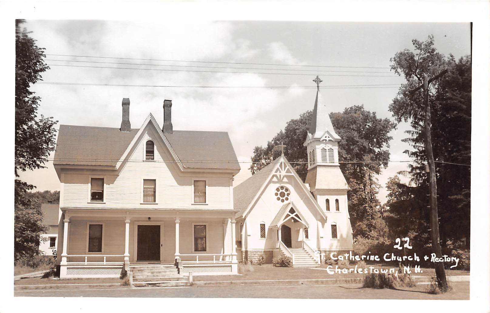 St Catherine Church & Rectory - Charlestown, New Hampshire NH Postcard
