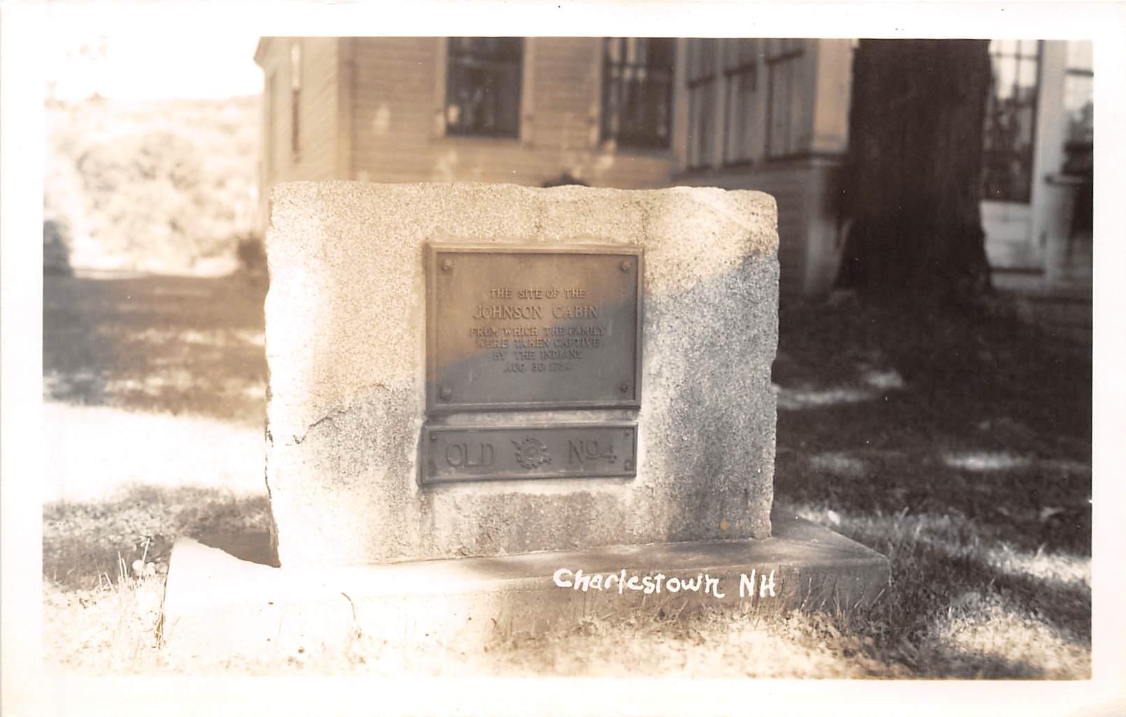 Johnson Cabin Monument - Charlestown, New Hampshire NH Postcard