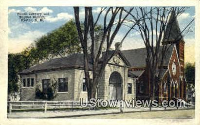 Public Library & Baptist Church - Exeter, New Hampshire NH Postcard