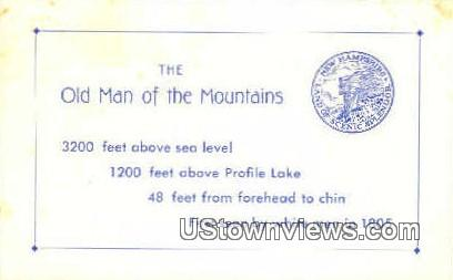The Old Man of the Mountains - Franconia Notch, New Hampshire NH Postcard