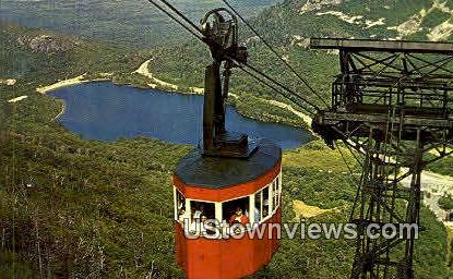 Tram-Car & Echo Lake - Franconia Notch, New Hampshire NH Postcard