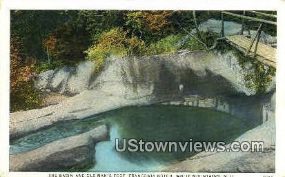 The Basin & Old Man's Foot - Franconia Notch, New Hampshire NH Postcard