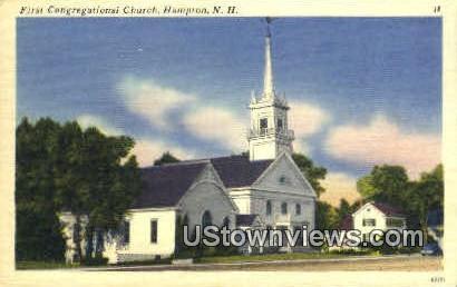 First Congregational Church - Hampton, New Hampshire NH Postcard