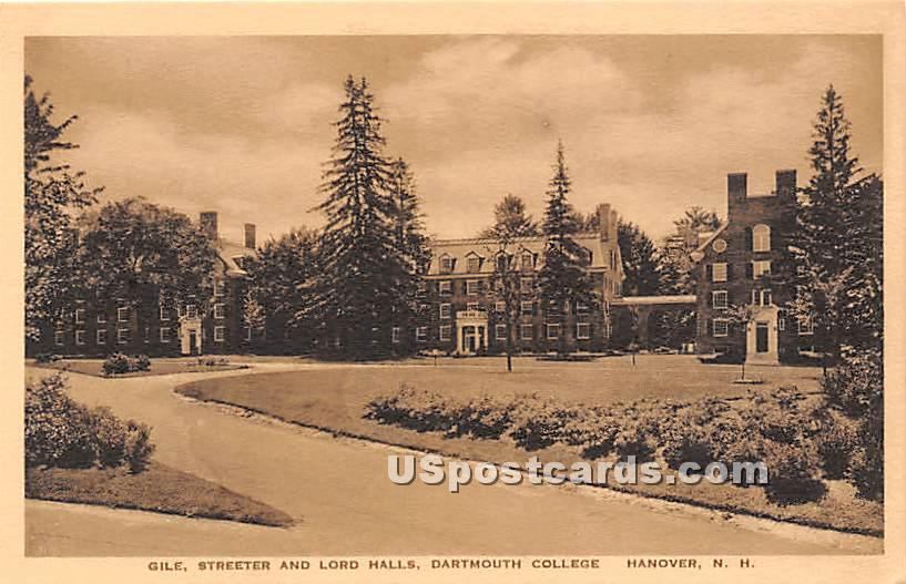 Gile, Streeter & Lord Halls at Dartmouth College - Hanover, New Hampshire NH Postcard