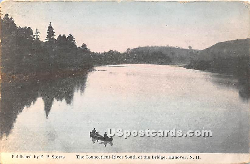 The Connecticut River south of the Bridge - Hanover, New Hampshire NH Postcard