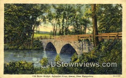 Old Stone Bridge - Keene, New Hampshire NH Postcard