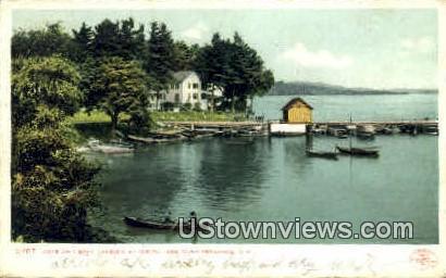 Cove & Boat Landing - Lake Winnipesaukee, New Hampshire NH Postcard