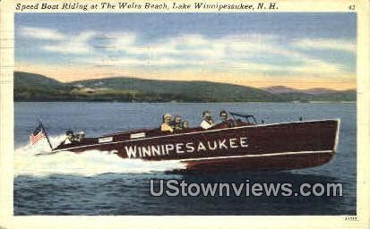 Speed Boat Riding - Lake Winnipesaukee, New Hampshire NH Postcard