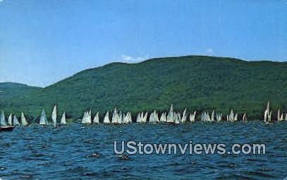 Sailboat Racing - Lake Winnipesaukee, New Hampshire NH Postcard