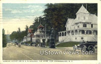 Lakeside Ave. & G.A.R. Building - Lake Winnipesaukee, New Hampshire NH Postcard