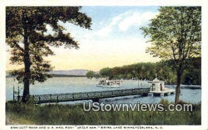 Endicott Rock & U.S. Mail Boat - Lake Winnipesaukee, New Hampshire NH Postcard