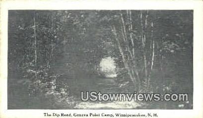 The Dip Road, Geneva Point Camp - Lake Winnipesaukee, New Hampshire NH Postcard