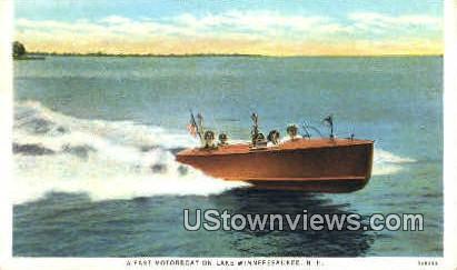 Fast Motorboat - Lake Winnipesaukee, New Hampshire NH Postcard