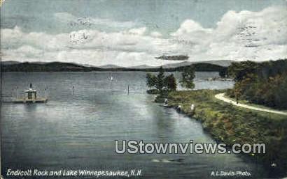 Endicott Rock - Lake Winnipesaukee, New Hampshire NH Postcard
