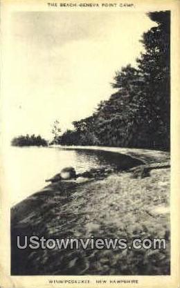 The Beach, Geneva Point Camp - Lake Winnipesaukee, New Hampshire NH Postcard