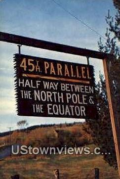 45th Parallel Sign - Misc, New Hampshire NH Postcard