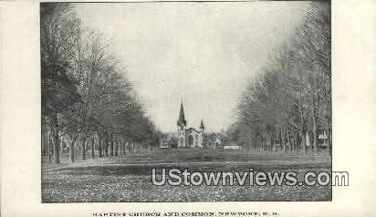 Baptist Church & Common - Newport, New Hampshire NH Postcard