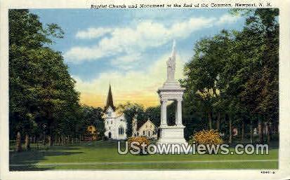 Baptist Church & Monument  - Newport, New Hampshire NH Postcard