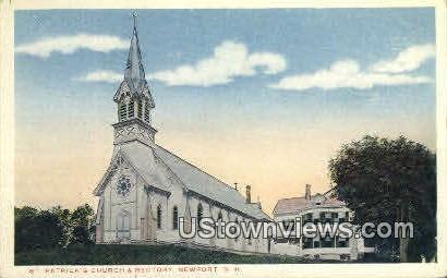 St. Patrick's Church & Rectory - Newport, New Hampshire NH Postcard