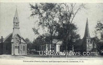 Universalist Church, Library, Episcopal Church - Claremont, New Hampshire NH Postcard