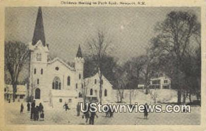 Children Skating, Park Rink - Newport, New Hampshire NH Postcard