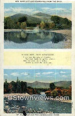 Mts Bartlett & Kiearsarge - White Mountains, New Hampshire NH Postcard