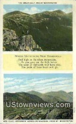 Great Gulf, Mt Washington - White Mountains, New Hampshire NH Postcard