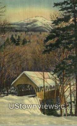Mt Liberty & Covered Bridge - White Mountains, New Hampshire NH Postcard