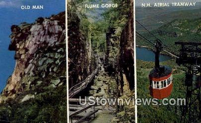 Old Man, Flume Gorge, Aerial Tramway - White Mountains, New Hampshire NH Postcard